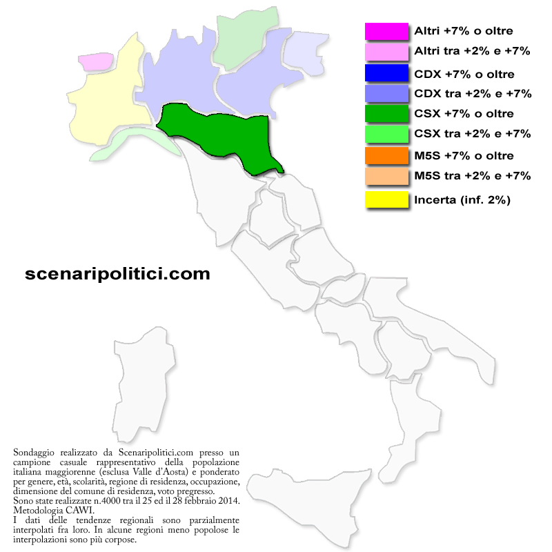 sondaggio emilia romagna mappa regionale