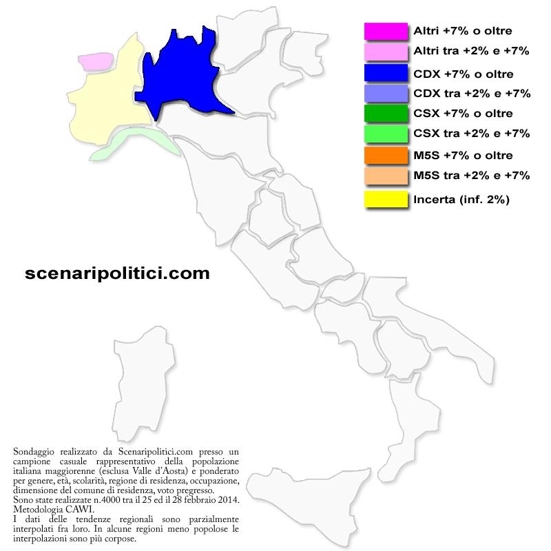 mappa regionale sondaggio
