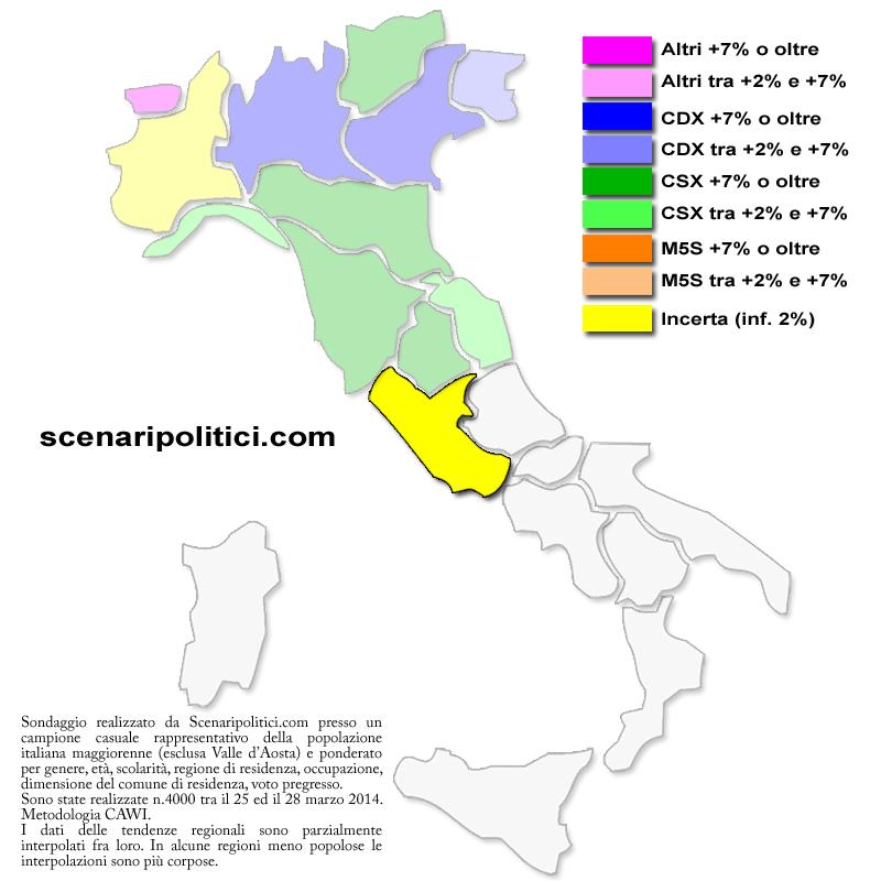 Sondaggio Lazio 31 marzo