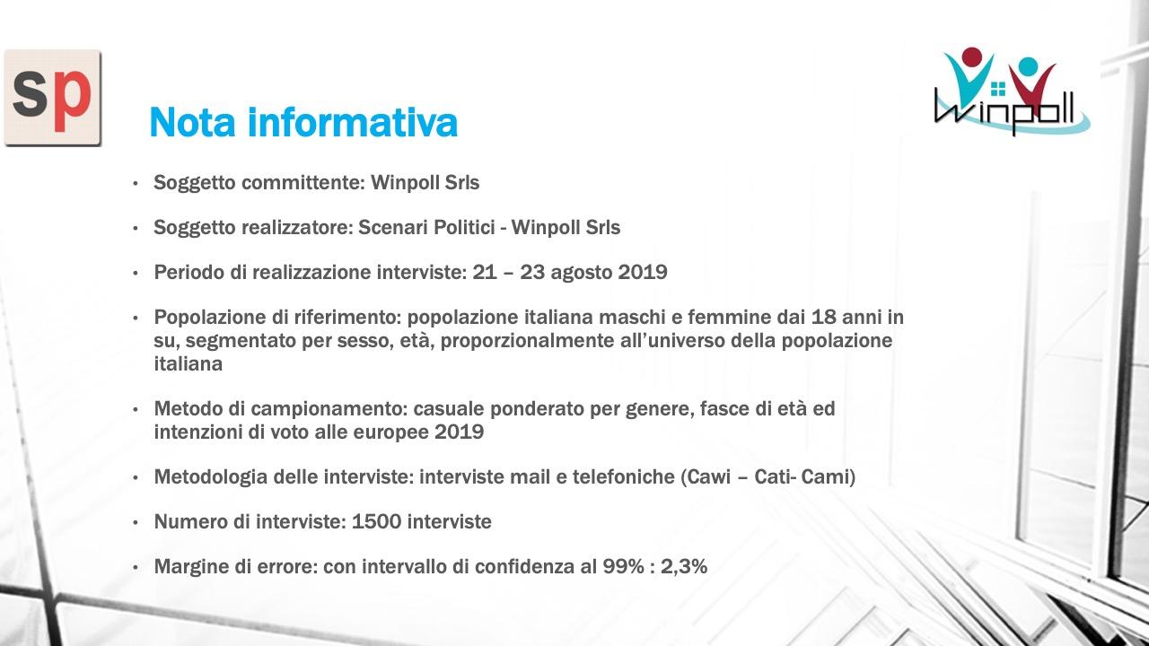 Sondaggio Scenari Politici Winpoll 25 agosto 2019